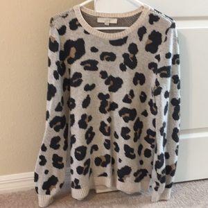Loft leopard animal print sweater S